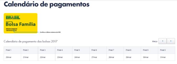 Calendário Bolsa Escola 2018