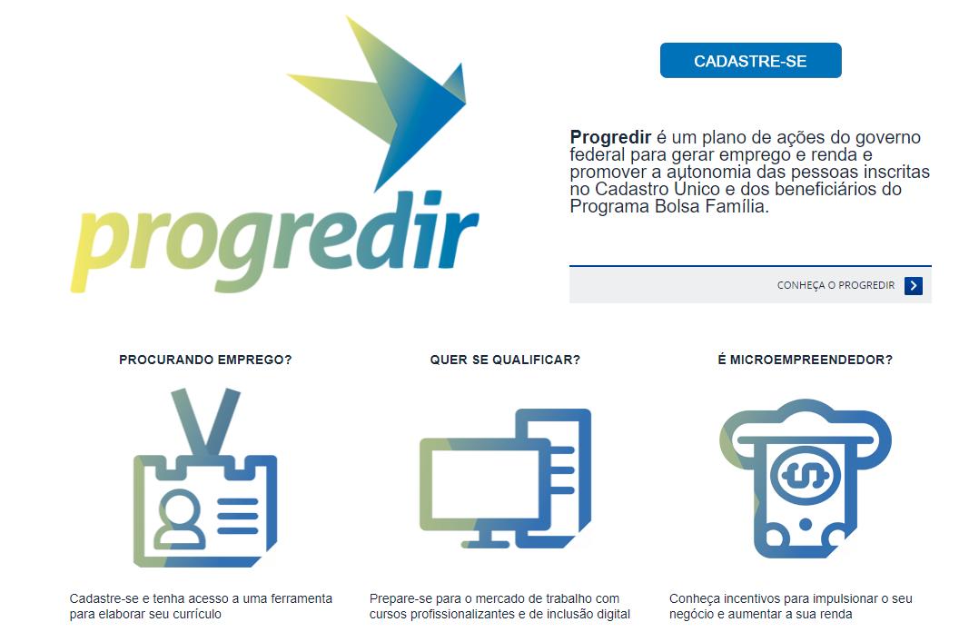 Inscrições Programa Progredir 2018